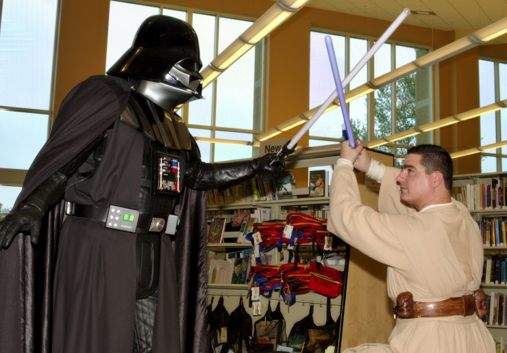 DSC_1755.jpg - After dispatching the first two Jedi, Lord Vader shows this Jedi the true power of the Dark Side!